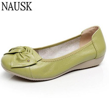 Factory Outlet genuine Leather shoes woman spring solid bowtie flat shoes fashion women flats ballet women shoes slip on loafers