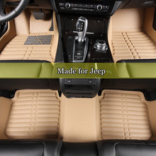 Double Layer Car Floor Mats For Jeep Grand Cherokee Commander Compass Patriot 3D Leather Coil Mats XPE floor carpet car rug 8010