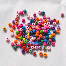 500pcs In A Lot DIY Jewelry Findings 4*5MM Round Shape Beads Mix Color Wooden Beads Bracelet Department