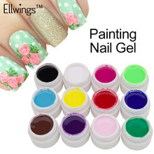 Ellwings 12 Colors Gel Nail Polish Paint Color Draw Painting Nail Gel Varnishes Salon Art Soak Off Professional Gel Lacquer(China)