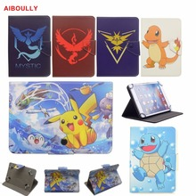 "AIBOULLY Cartoon Pocket Monster Anime Funda PU Leather Case for Samsung Galaxy Tab3 Tab 4 7.0"" 7"" Tablet PC Stands Mount Holder(China)"
