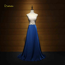 Loverxu New Designer Royal Blue Taffeta Sweep Train Evening Dresses 2017 Luxury Beaded Pearls Formal Party Gown Vestido de Festa(China)