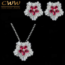 CWWZircons Sparkling Flower Shaped Red Rhinestone Crystal Earring And Necklace Pendant Sets For Fashion Women Jewelry  T079