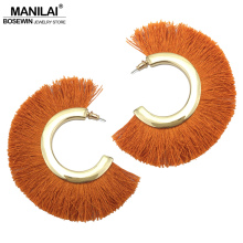MANILAI 6 Colors Cotton Tassel Earrings Bohemia Alloy Big Stud Earrings For Women Statement Fringe Earrings Geometric Jewelry(China)