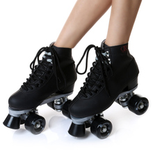 roller skate classic black double row skating shoes pulley shoes 4 wheel shoes outdoor indoor riding asphalt road roller skate(China)