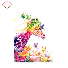 Colorful animal giraffe diamond painting embroidery full gear picture of rhinestones diamond pattern embroidery crystals(China)