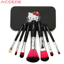ACCEDE New 7pcs Makeup Cosmetic Brushes Set Powder Foundation Eyeshadow Lip Brush Tool Cute Hello Kitty Gift for Teen Girl