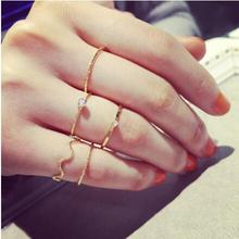 r020 2017 new fashion wave five-piece personalized ring fine index finger ring women jewelry 5pcs/lot