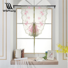 WSPhang 1pc New Floral Peach Blossom Roman Curtain Tulle Pastoral Voile Panel Window Curtain Livingroom Bedroom Tulle 80cm*100cm