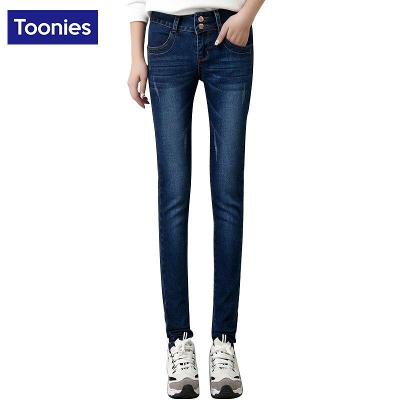 Jeans Women Vintage Washed Denim Pencil Pants 2017 Winter Thick Velvet Jeans With High Waist Slim Warm Jeans Plus Size TrousersОдежда и ак�е��уары<br><br><br>Aliexpress