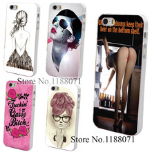 Hard Clear Skin Back Case Cover for iPhone 4 4s 4g 5 5s 5g Girl Keep Their Beer On The Bottom Shelf Style