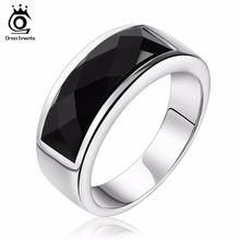 ORSA JEWELS New Arrival Wholesale 316L Stainless Steel Ring Natural Black Stone Steel Silver Color Ring For Women and Men OTR05