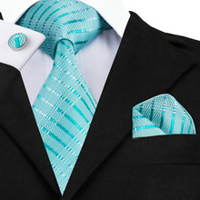 Mens Tie Blue Stripe Silk Jacquard Necktie Hanky Cufflink Set Business Wedding Party Ties For Men Men's Gift C-703(China)