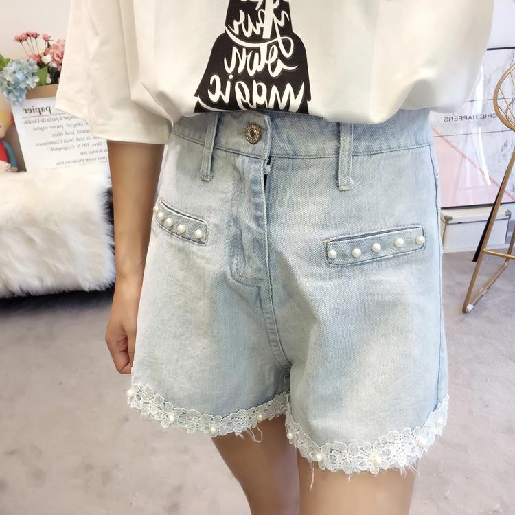 Woman Summer Denim Shorts Light Blue Wash Jeans Short Women Beaded Denim Bottoms Girls Plus Size Street Look Lace Hem Jeans Short 5XL 4XL 3XL XL (14)