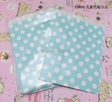 candy paper bag light blue white dots Treat Craft Paper Popcorn Bags Food Safe Party Favor Paper bags Best Party Gift Bag 50pcs
