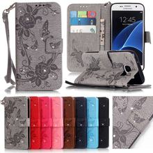 For Coque Samsung Galaxy S7 Case Leather Wallet Cell Phone Cases Samsung Galaxy S7 Edge Case Flip Cover Luxury 3D Diamond Bling(China)