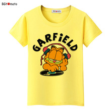 BGtomato Famous fat cat Garfield t shirt women Funny cartoon 3D shirts Good quality brand comfortable casual tops tees