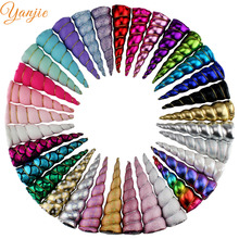 10pcs/lot 5'' Rainbow Unicorn Horn For Girls Party Hair Accessories Padded Glitter DIY Hairbands Birthday Gift Kids Headbands(China)