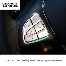 1Car-styling ABS wheel buttons sequins decoration decals Interior cover Mercedes Benz GLA CLA Class X156 200 220 260 - Zhenccy Auto Accessories Manufacturing Co.,Ltd. store