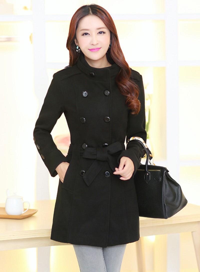 2016 New Women Trench Woolen Coat Winter Slim Double Breasted Overcoat (5)
