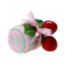 2PCS Gift Cheery Cake Towel Lovely Mini Candy Cup Cake Towel Cotton Hand Soft Towels Face Towel Party wedding gifts