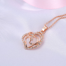 Imitation Rose Gold Filled Dubai African Jewelry Pendant Necklace Wedding Jewelry Gift For Women