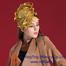 Free Shipping New Women Fascinator Hat  Hair Yellow Flower Fur Feather  Ladies' Hair Accessories with Fashion and Elegant Modern