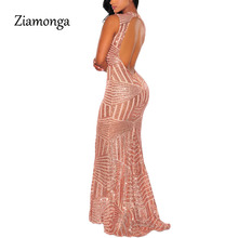 Ziamonga Sexy Backless Sequin Maxi Dress Elegant Evening Paillette Robe Sexy Bodycon Party Dresses Summer Mermaid Dress S2841(China)