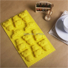 11 Holes Cute Yellow Cartoon Bear Shape Silicone Mold DIY Chocolate Jelly Pudding Soap Mould