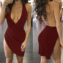 The Latest  Fashion Trend Women Sexy Backless Deep V Dress Irregular Hanging Neck Dress