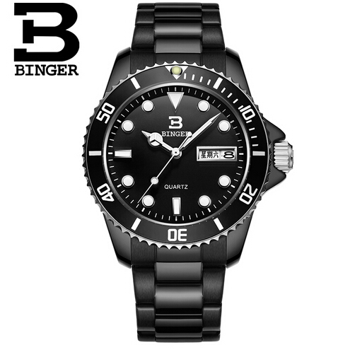 2017 Binger Quartz Watch Men Watches Top Brand Luxury Famous Wristwatch Male Clock Wrist Watch Luminous watch Relogio Masculino<br>