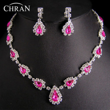 Fashion Zinc Alloy Silver Plated Wedding Accessories Jewellery Bijous Wholesale Cheap Rhinestone Bridal Jewelry Sets For Women