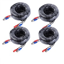 ANNKE 4 Packed White / Black color 30M / 100 Feet BNC Video Power Cable For CCTV Camera DVR Security System