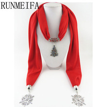 [RUNMEIFA]   New Style Red Autumn Winter Women Jewelry Pendant Scarf Christmas Tree Necklace Scarves Wraps Shawl Retro Tassels