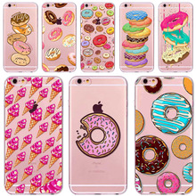 Case Cover For iphone 6 6s 4.7 Inch Dessert Macaroon Ice cream Cupcake Soft Sillicon Clear Phone Case bag Accessory