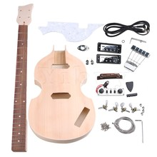 Yibuy  Maple DIY 4 String Electric Guitar Bass Body Neck Fingerboard Humbucker with Tuning Pegs UnFinished Suit Accessories