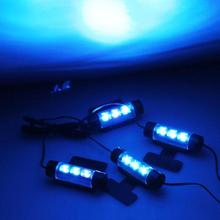 CARCHET 4 x 3 Pcs Blue LEDs Glow Neon Decoration Interior Light Lamp for Car LED Interior Light Decorative Lights Car Styling(China)