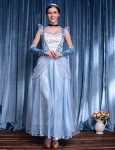 MOONIGHT Adult Cinderella Costumes Deluxe Light Blue A-Line Cinderela Cosplay Shiny Gown Cinderella Dress Cosplay Costume