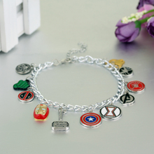 Avengers Charm Bracelet Captain America Shields Iron Man Mask Thor 's Hammer Eagle Deadpool Cool Gift To Woman(China)
