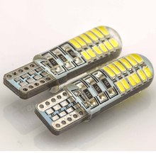 50Pcs T10 W5W Silica Gel 194 168 3014 24 SMD LED Car Auto Side Flashing Parking Light Bulb DC12V White car light source