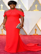 2017Red Viola Davis Halter Neck Celebrity Dresses89th Annual Academy Awards Red Long Evening Dress Short Sleeve Prom Party Gowns