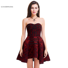 Charmian Women's Sexy Gothic Corset Dress Rose Print Zipper High Low Overbust Corset Dress Party Dress Vestidos(China)