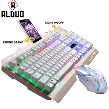 ALANGDUO USB Wired Mechanical Keyboard Gamer Keyboard Backlight Metal Keyboard DPI Gaming Mouse Combos for PC Computer Gaming(China)
