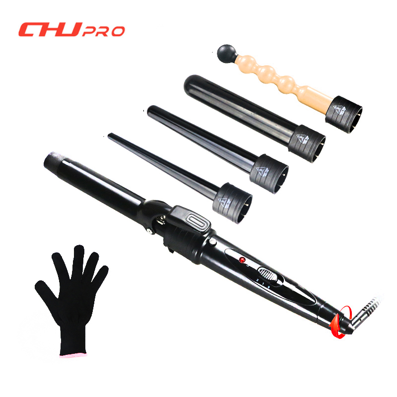 5 in 1 Ceramic Hair Curler Set LCD Hair Curling Iron Roller Interchangeable Hair Curls Wand Fashion Styling Tools<br>