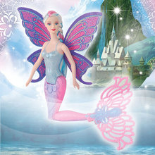 15Inch Fashion Swimming Mermaid Doll Moxie Girls Magic Classic Mermaid Doll With Butterfly Wing Toy For Girl's Birthday Gifts(China)