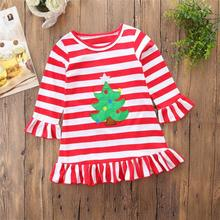 Happy Thanksgiving Toddler Baby Girl Turkey Print Dress Stripe Sundress Outfit long sleeve winter christmas casual daily clothes(China)