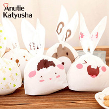 50pcs/lot Cute Rabbit Ear Biscuit Bag Moisture Proof Plastic Candy Box Cookie Bags Snack Cake Gift Packaging Bag Wedding Supply(China)