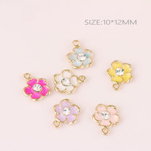 Factory Price Rhinestone Core Enamel Flower Charms 120PCs 60PCs/Lot Oil Drop Gold Tone Alloy Floral Bracelet Necklace Pendants