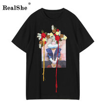 RealShe Fashion Brand T Shirt Women Image Printed T-shirt Women Tops Tee Shirt Femme New Arrivals Hot Sale Casual Sakura