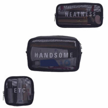 Black Mesh Cosmetic Bags Travel Functional Makeup Case Beautician Necessary Toiletry Organizer Pouch Accessories Supplies